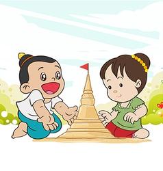 Asia children enjoying building sand vector image