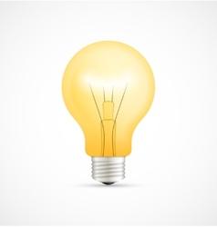 Realistic glowing yellow light bulb vector