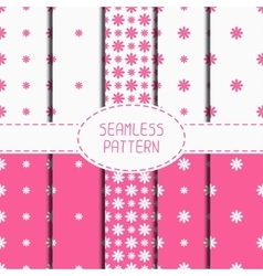 Set of pink geometric floral seamless pattern with vector