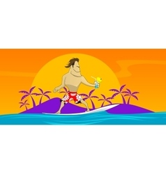 surfer on the waves rushing vector image