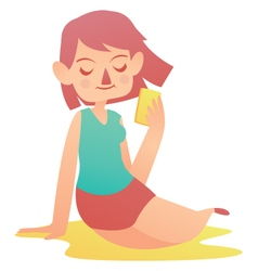 Relaxing girl holding a cell phone vector