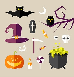 Set of halloween and decorative elements pumpkin vector