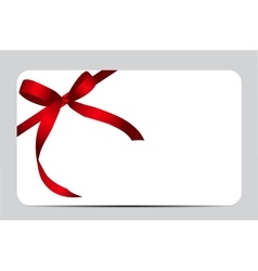 Gift card with red ribbon and bow vector