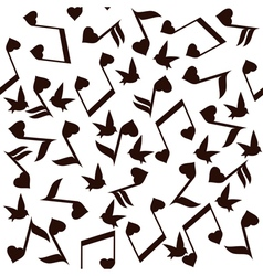 Music note heart bird vector