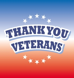 Thank you veterans banner on red and blue vector