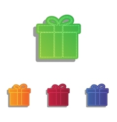 Gift box sign colorfull applique icons set vector