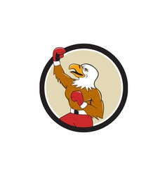 Bald eagle boxer pumping fist circle cartoon vector