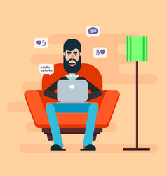 Bearded man sitting in a chair with a laptop on vector