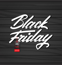 black friday poster with tag on wooden textured vector image