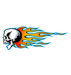 burning skull with classic tribal flames isolated vector image