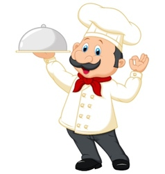Chef cartoon holding platter vector image vector image