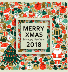 Christmas greeting card with text merry xmas and vector