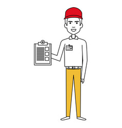 Courier worker with checklist avatar character vector