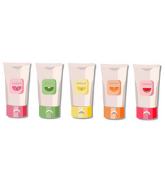 Cream package set fruit fragrance watermelon vector