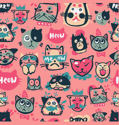 cute hipster cat faces kitty pet head avatar vector image
