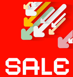 Diagonal paper arrows with sale title on red vector