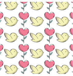 Dove and heart plant with leaves donation symbol vector