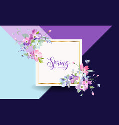 Floral spring graphic design with blossom flowers vector