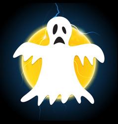 Halloween white ghost thunderbolt moon vector