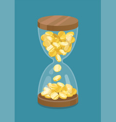 Hourglass with coins time is money vector