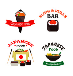 Japanese sushi and asian food isolated icon set vector
