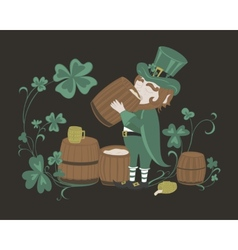 Leprechaun drinks beer from a wooden barrel vector