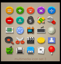 multimedia icon set-3 vector image vector image