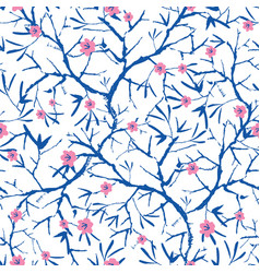 Navy blue pink and white blooming sakura vector