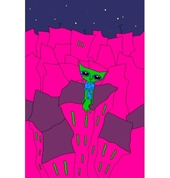 Night city cat vector