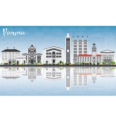 Parma skyline with gray buildings blue sky vector