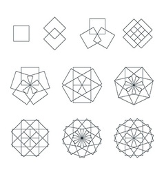quadrangle contour various sacred geometry set vector image