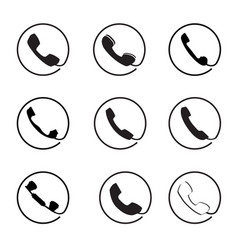 retro phone icon set call handset sign button vector image