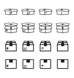 Set of packaging box icon flat shipping pack vector