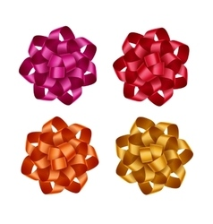 Set of red orange yellow pink gift ribbon bows vector