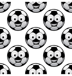 Smiling football balls seamless pattern vector