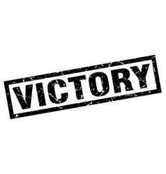 Square grunge black victory stamp vector