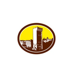 Tower of san niccolo florence woodcut vector