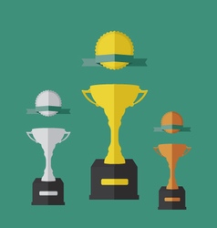 Trophy cup and medals vector image vector image