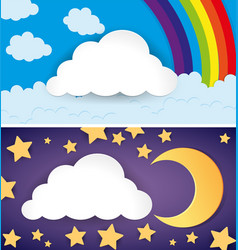 two scenes of day and night vector image vector image