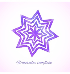 Violet watercolor snowflake vector