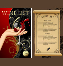wine list with hand holding a wineglass with vector image vector image