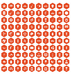 100 south america icons hexagon orange vector