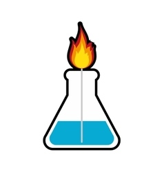 Flask flame laboratory science icon vector