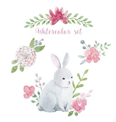 Watercolor rabbit with flowers vector image