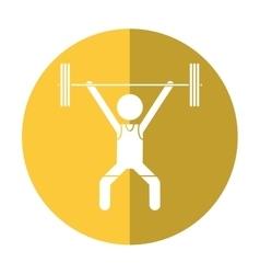 Man weight lifter sport athlete shadow vector