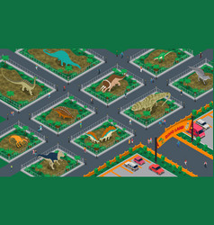 Dino land isometric composition vector