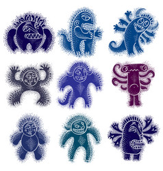 Set of cool cartoon monsters colorful weird vector