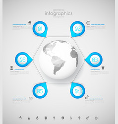 Infographic overview design template with blue vector
