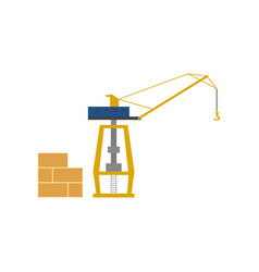 Global shipping icon with sea port crane vector