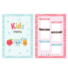 Kids menu design vector